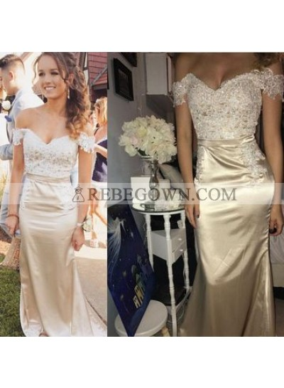 2020 New Arrival Sheath Off Shoulder Sweetheart Champagne Prom Dress With Appliques