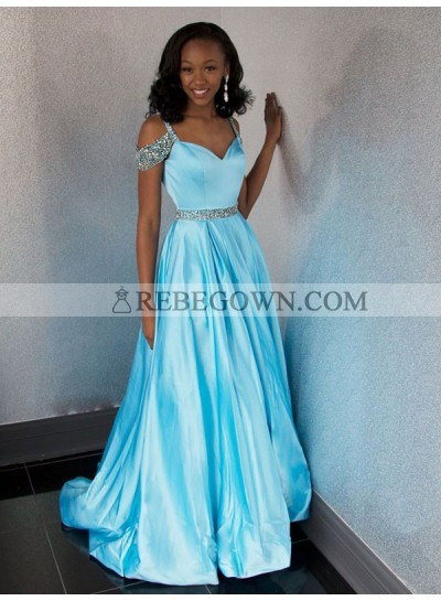 2021 Chap A Line Sweetheart Off Shoulder Blue Beaded Long Prom Dress