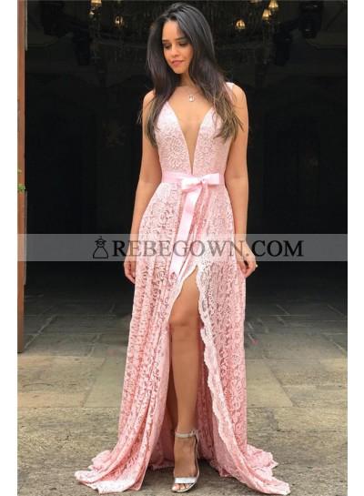 2021 Newly A Line Pink Side Slit V Neck Lace Bowknot Sash Prom Dress