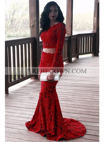 Charming Red Mermaid  Long Sleeves Two Pieces Lace Prom Dress 2021