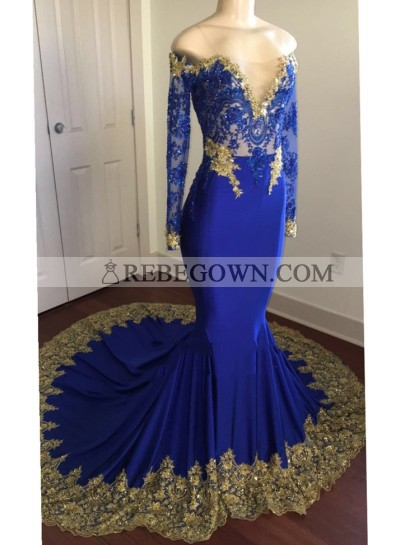 2021 Sexy Mermaid  Royal Blue And Gold Appliques Long Sleeves V Neck Off Shoulder Prom Dress