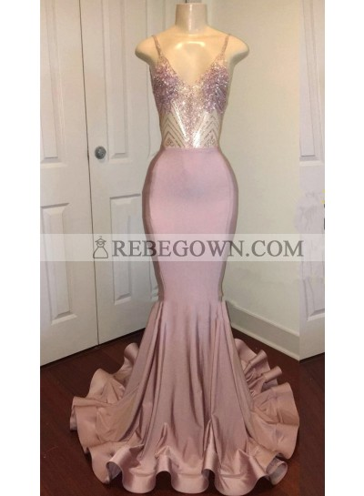 Sexy Mermaid  Dusty Rose Sweetheart Shiny Backless Long Prom Dress 2021