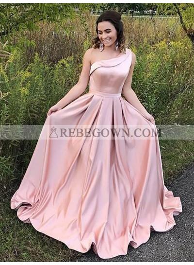 2021 Elegant A Line One Shoulder Satin Pink Long Prom Dress
