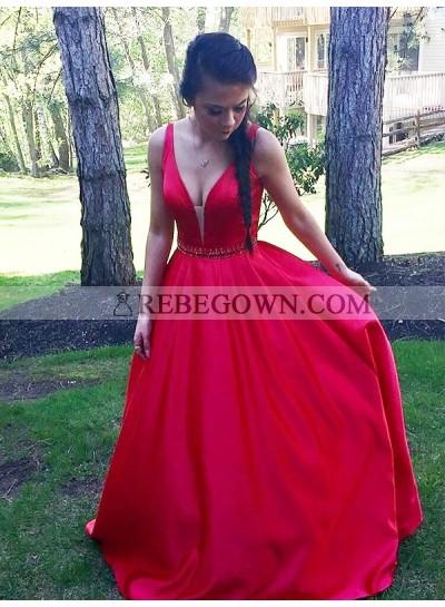 Elegant A Line Satin Red Sweetheart Sleeveless 2021 Long Prom Dress