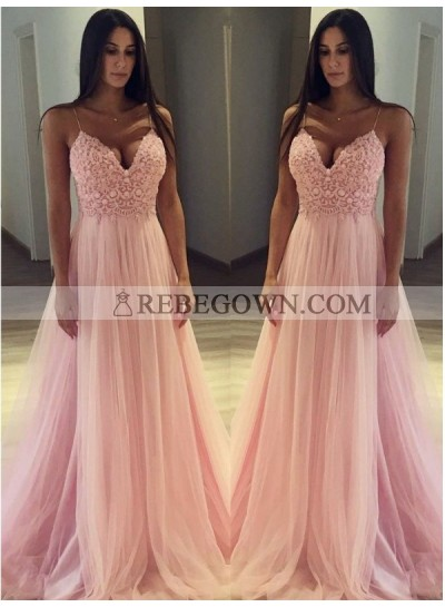 2020 Elegant A Line Sweetheart Pink Tulle Sweetheart Spaghetti Straps Prom Dress
