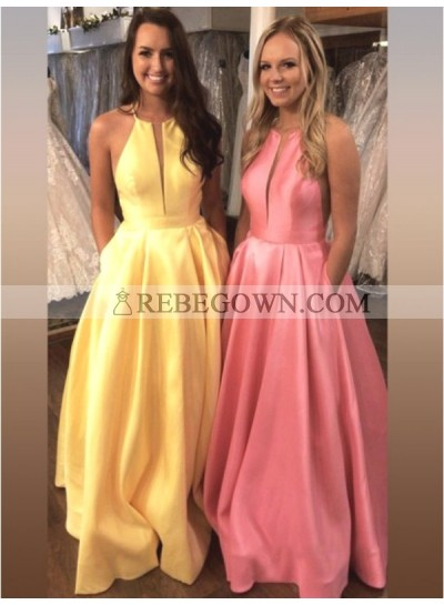 2021 Cheap Satin A Line Simple Yellow Halter V Neck Backless Prom Dress