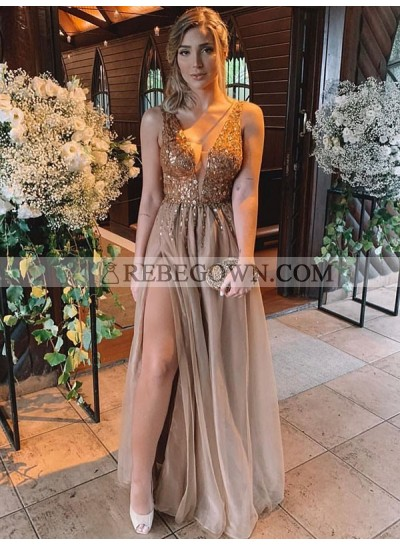 2021 Charming A Line Side Slit Chiffon Light Brown V Neck Beaded Prom Dress