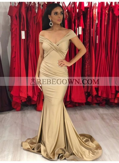 2021 Sexy Mermaid  Off Shoulder Champagne Sweetheart Elastic Satin Long Prom Dress