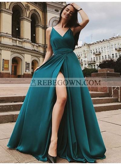 2021 Charming A Line Side Slit Teal V Neck Elastic Satin Long Prom Dress