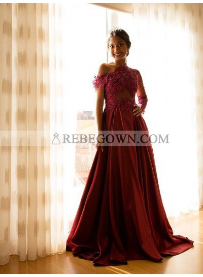 2021 Cheap A Line Satin One Shoulder See Through Long Burgundy Prom Dress With Appliques