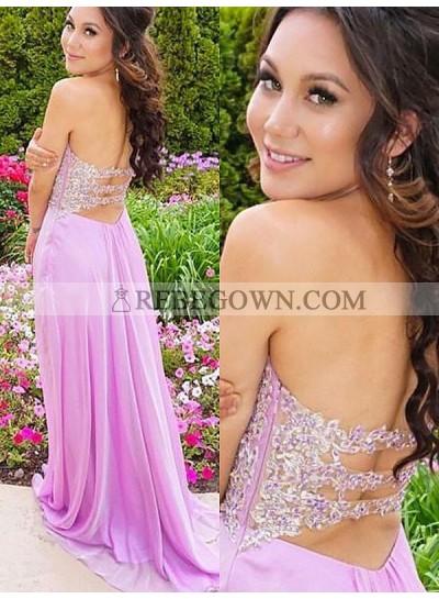 2020 Cheap A Line Sweetheart Chiffon Lilac Backless Prom Dress
