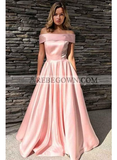 Cheap Pink A Line Elastic Satin Off Shoulder Long Prom Dress 2020