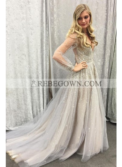 2021 Newly A Line Gray Tulle Long Sleeves See Through Sweetheart Beaded Prom Dress