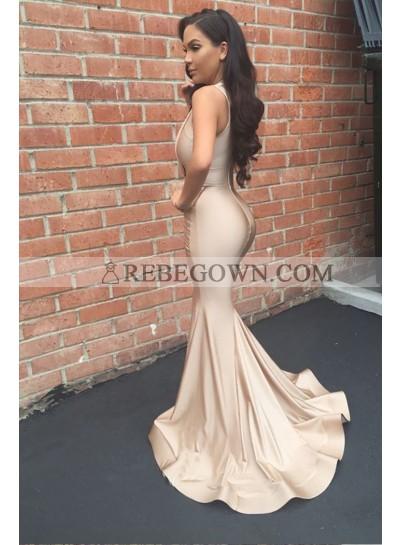 Sexy Mermaid  2021 Champagne V Neck Stretchy Long Prom Dress