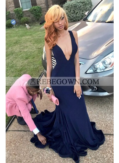 Charming Dark Navy Deep V Neck Sheath Velvet Backless Long Prom Dress 2021