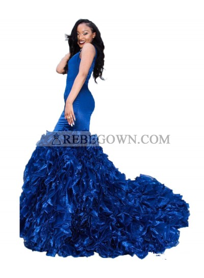 Sexy Royal Blue Ruffles Pleated Sweetheart Mermaid  Long 2021 Prom Dress