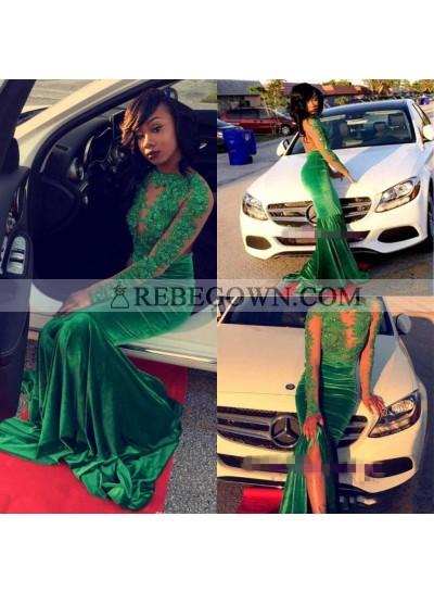 2021 New Arrival Mermaid  Long Sleeves Green Backless Velvet African American Prom Dress