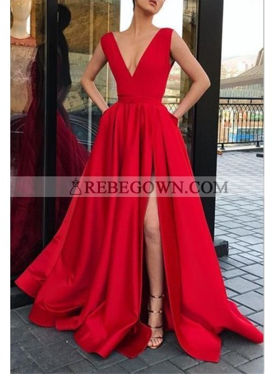 Charming A Line Satin Side Slit V Neck Red Prom Dress 2021