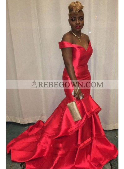 2020 Charming Red Mermaid  Off Shoulder Sweetheart Ruffles Satin Pleated Prom Dress