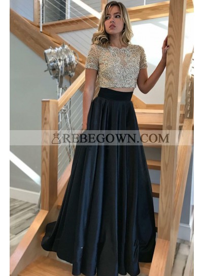 2020 Elegant A Line Satin Black Short Sleeves Beaded Two Pieces Prom Dress