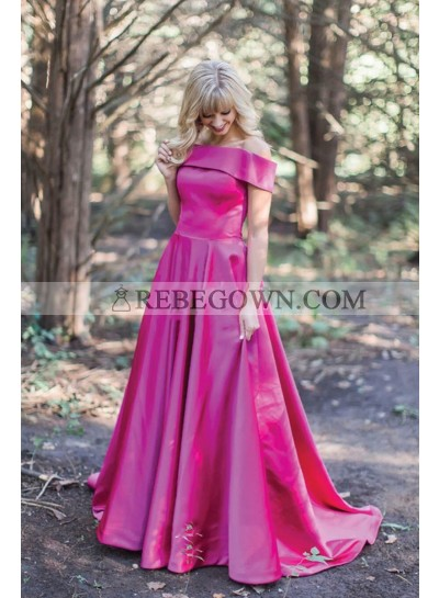 2021 Cheap Fuchsia Off Shoulder Satin A Line Long Prom Dress