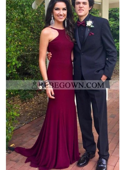 2021 Amazing Sheath Burgundy Backless Scoop Long Prom Dress