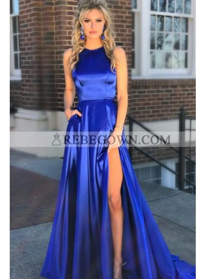 2021 Elegant A Line Elastic Satin Royal Blue Side Slit Hollow Out Long Prom Dress