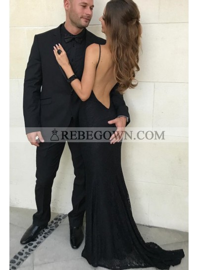 2020 Charming Black Sheath Halter Backless Lace Long Prom Dress