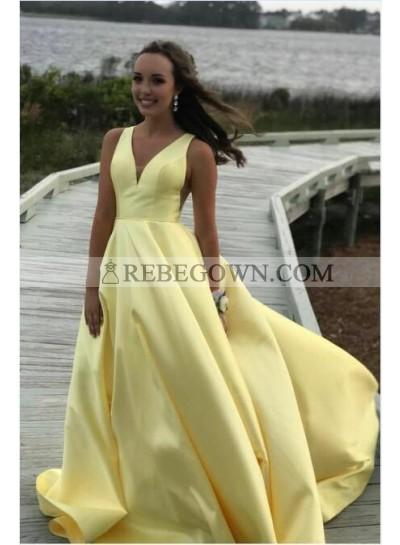 2020 Cheap A Line Satin Light Yellow Sweetheart Long Prom Dress