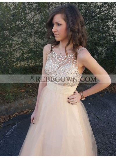 2020 A Line Cheap Tulle Peach Beaded Backless Long Prom Dress
