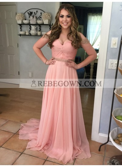 2021 Newly A Line Pink Chiffon Off Shoulder Pleated Sweetheart Long Prom Dress