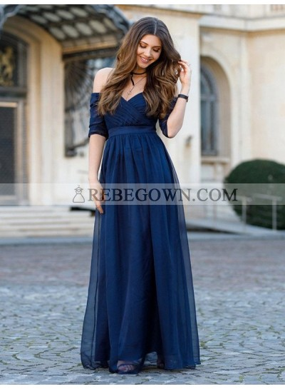 Cheap A Line Off Shoulder Chiffon Sweetheart Short Sleeves Navy Blue Prom Dress 2020