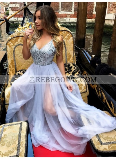 2021 Cheap A Line Tulle Lavender Sweetheart Backless Prom Dress With Appliques