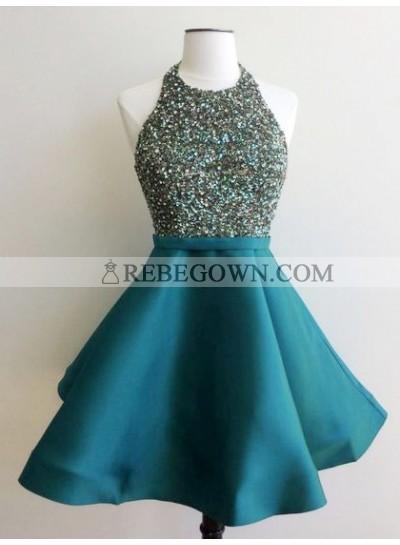 Cheap A Line Teal Knee Length Satin Scoop Beaded Short Prom Dress