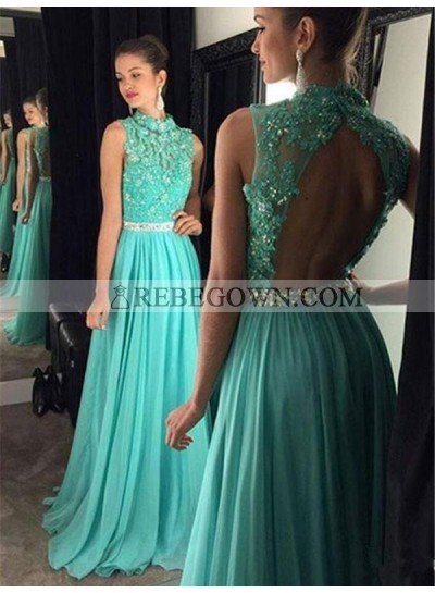 2020 Cheap A Line Turquoise Chiffon Backless High Neck Beaded Prom Dress