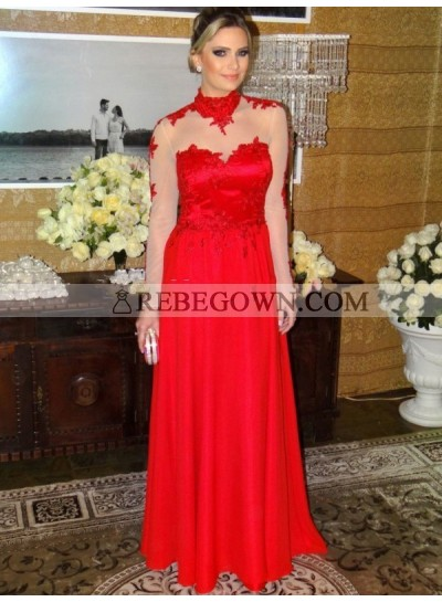 Cheap A Line Chiffon Red Long Sleeves Backless High Neck Prom Dress 2021