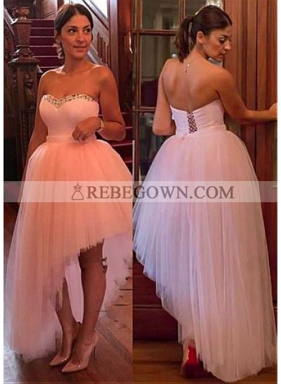 New Arrival Tulle Knee Length High Low Sweetheart Lace Up Short Pink Prom Dress