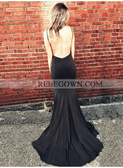 Sexy Black Sheath Sweetheart Side Slit Long Backless 2021 Prom Dress