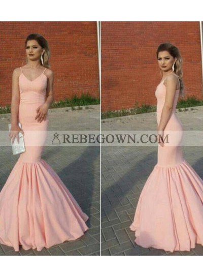 Sexy Pink Mermaid  V Neck Pleated Long 2021 Prom Dress