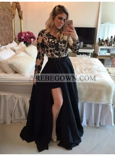 Cheap A Line Black Long Sleeves Side Slit Satin Prom Dress With Appliques 2021