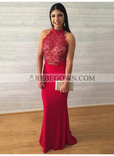 2020 Charming Sheath Red High Neck Lace Backless Prom Dress
