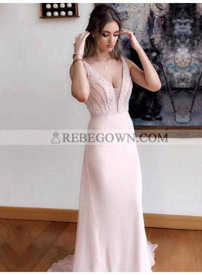 2021 Elegant Blushing Pink Sheath V Neck Beaded Chiffon Long Prom Dress