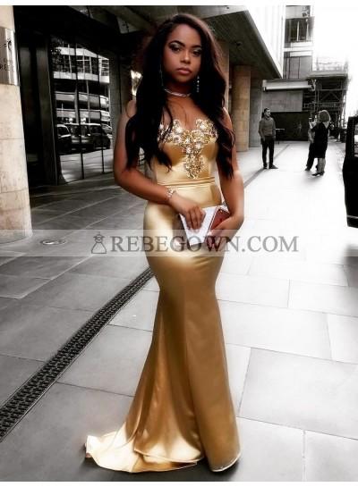 Sexy Mermaid  Elastic Satin Gold Sweetheart Zipper Back Long Prom Dress 2021