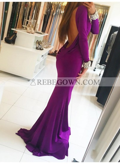 Charming Mermaid  Purple Long Sleeves Round Neck Backless Prom Dress 2021