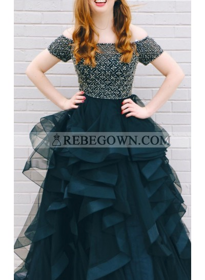 2021 New Arrival A Line Off Shoulder Dark Navy Beaded Sweetheart Ruffles Short Sleeves Plus Size Prom Dress