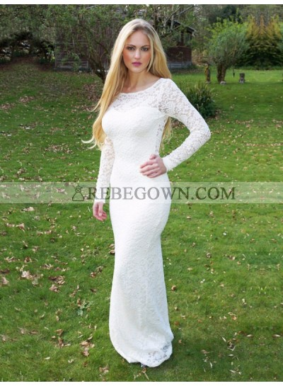 2021 Sexy Mermaid  Long Sleeves Backless White Scoop Long Lace Prom Dress