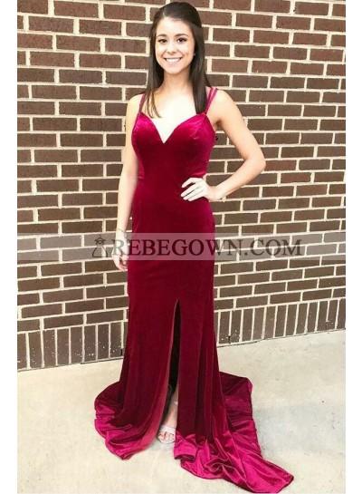2021 Sheath Sweetheart Burgundy Velvet Side Slit Prom Dress