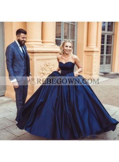Charming Satin Sweetheart Dark Navy Ball Gown 2020 Prom Dress