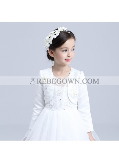 Satin White Long Sleeves Pearls Flowers First Holy Communion Girl's Wrap