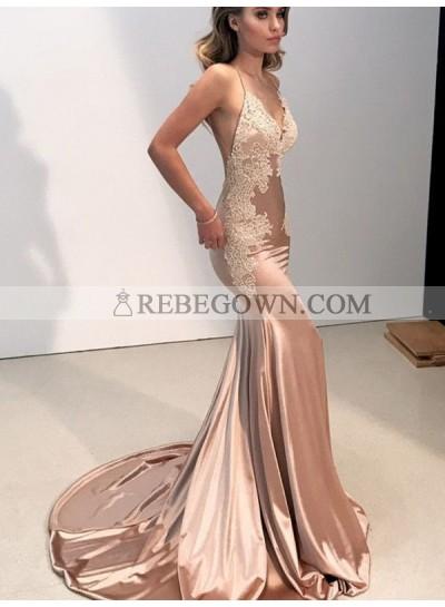 2021 Backless Bodice Spaghetti Strap Deep V Prom Dresses